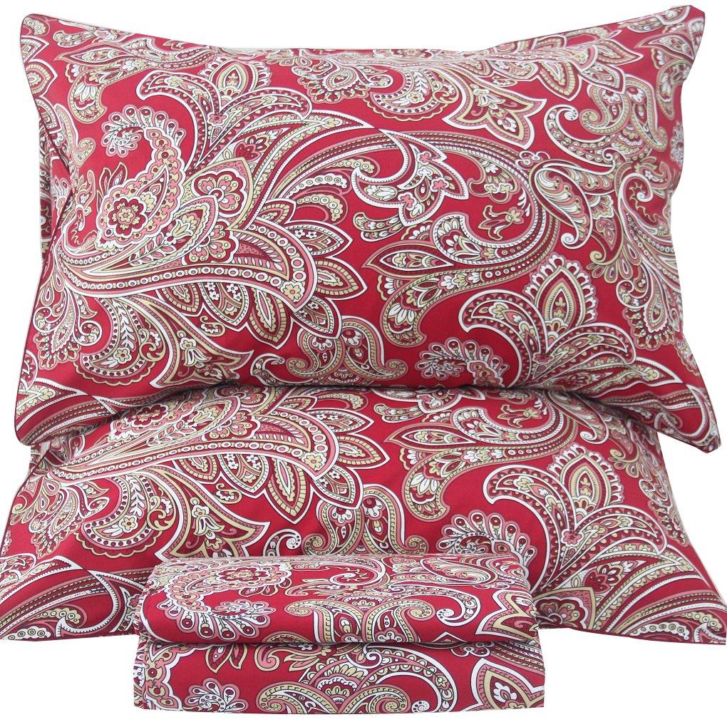 Queen's House Luxury Paisley Print Bed Sheet Queen Set-T
