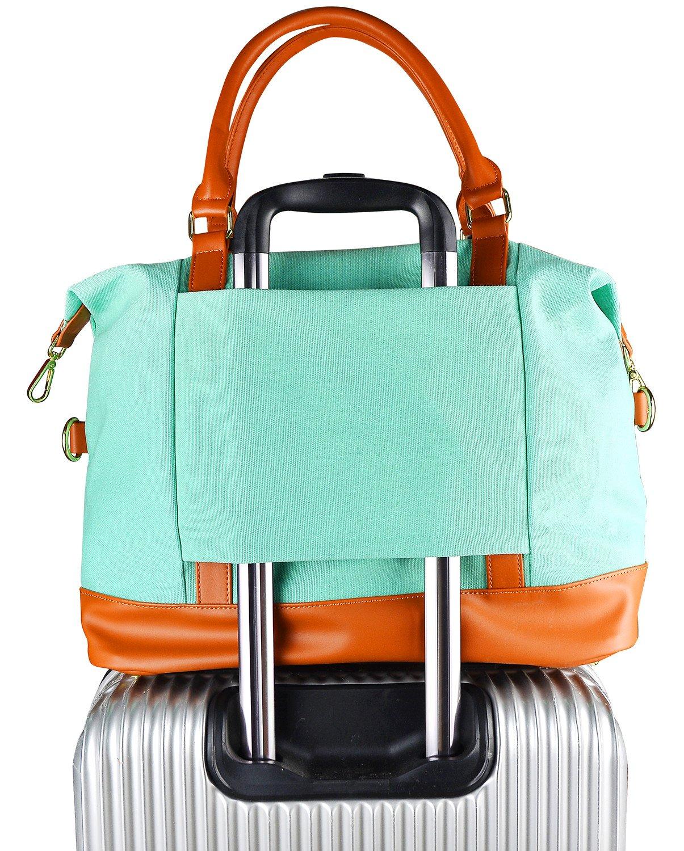 Women Ladies Canvas Weekender Bag Overnight Carry-on Tote Duffel in Trolley Handle (Polka Dot Blue)
