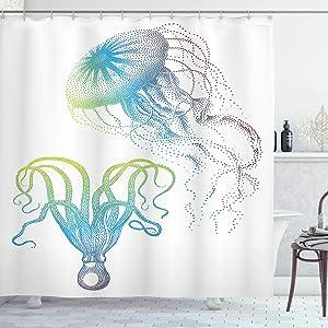 Ambesonne Octopus Shower Curtain, Octopus and Jellyfish Illustration Nautical Themed Art Underwater Wildlife Marine, Cloth Fabric Bathroom Decor Set with Hooks, 84