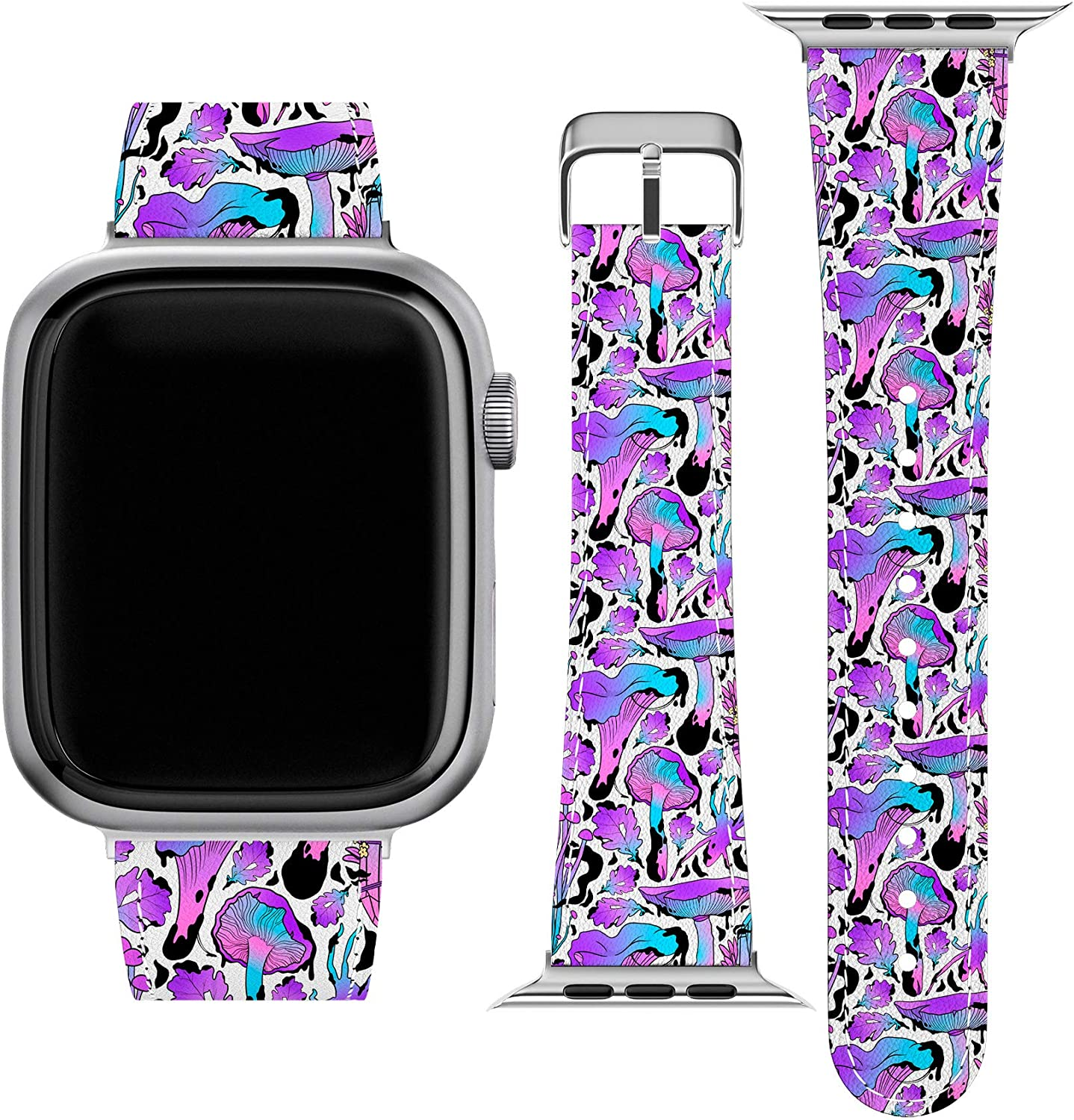 Lex Altern Band Compatible with Apple Watch Series 6 SE 5 4 3 2 1 38mm 40mm 42mm 44mm Crystals Forest Leaf Thin Witchcraft Mushrooms Magic PU Leather Wristband Durable Replacement Strap Belt wh546