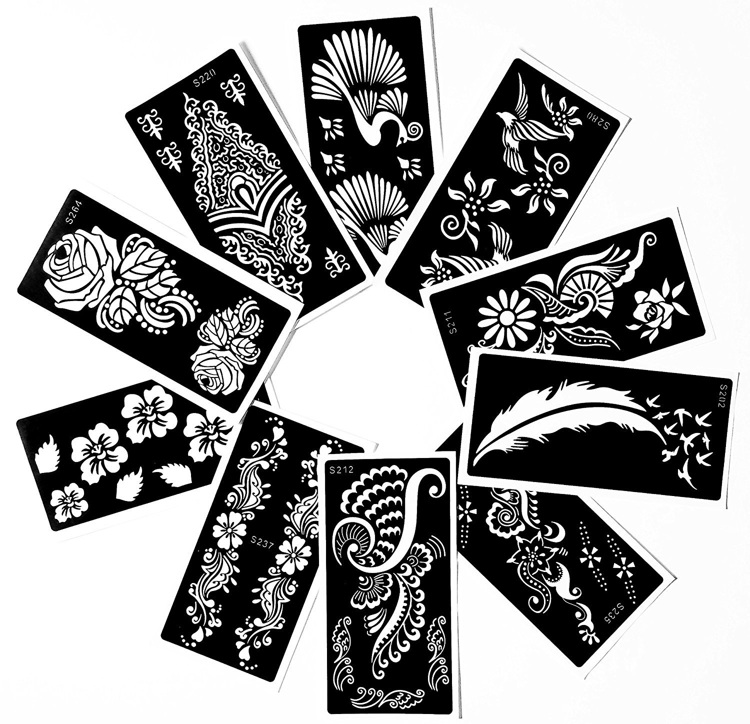Tattoo Stencil (10 Sheet) Henna Designs Temporary Tattoo / Self-Adhesive - Template