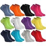 6, 9 oder 12 Paar Sneakersocken in 12 modischen Farben in Europa hergestellt höchste Qualität der Baumwolle mit Zertifikat Öko-Tex in vielen Größen 36 38 39 40 41 42 43 44 45 46 by Rainbow Socks