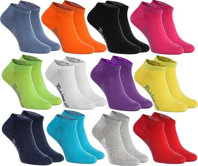 Rainbow Socks 12 pares de calcetines cortos en 12 colores de moda producidos en la UE