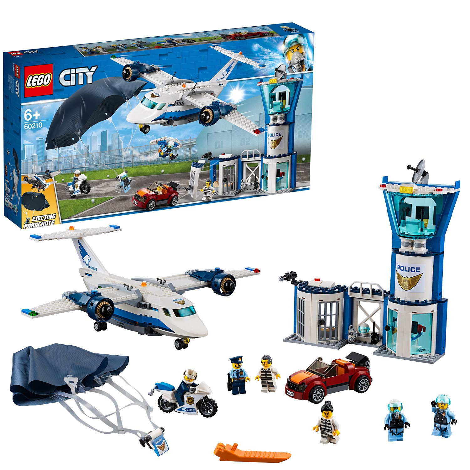 LEGO 60210 City Police Sky Police Air Base Playset with Police Station Plane Car and Parachute Police Toys for Kids', Multi-Colour