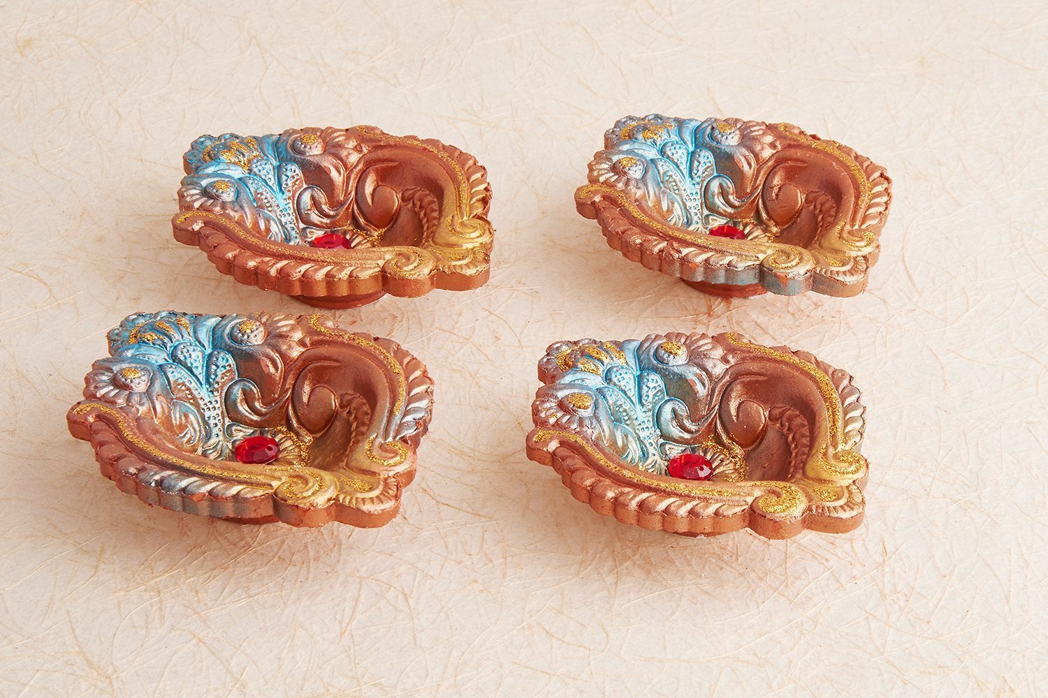 Set of 4 Diwali Decorations Colorful Oil Lamp Diya For Pooja /Puja Home Decor Simply Indian Handicrafts