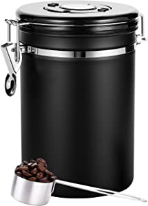 Coffee Canister Black Large,Airtight Coffee Canister With Scoop(22 oz),Large Stainless Steel Food Container,Coffee Canister Stainless Steel Storage Container with Date Tracker, CO2-Release Valve