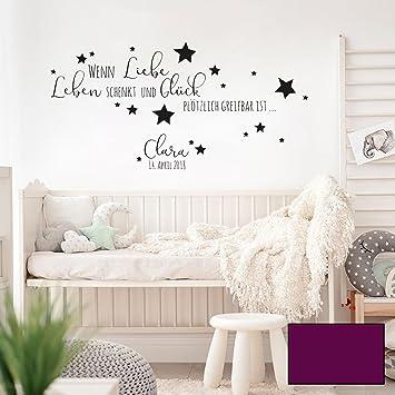 Wandtattoo Baby Geburt Spruch Zitat & Sterne Kinderzimmer Wanddeko ...
