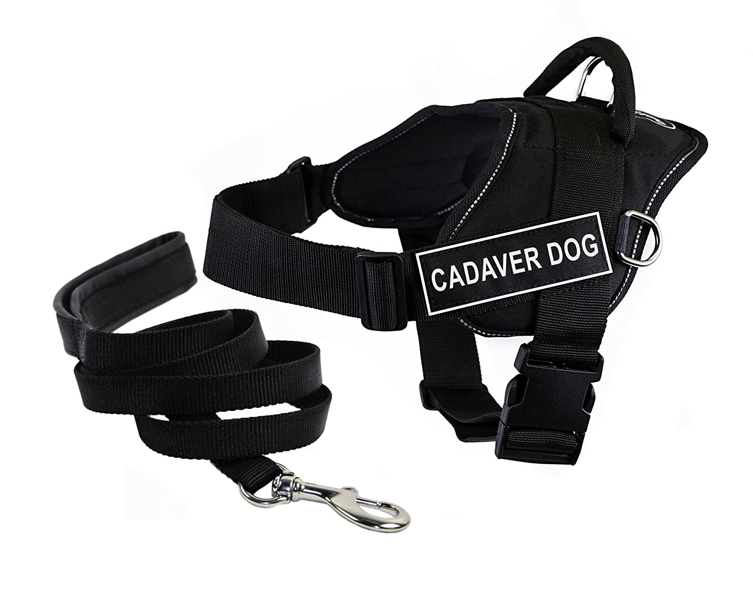 Dean & Tyler's DT Fun Cadaver Dog  Harness with Reflective Trim, Medium, and 6 ft Padded Puppy Leash.
