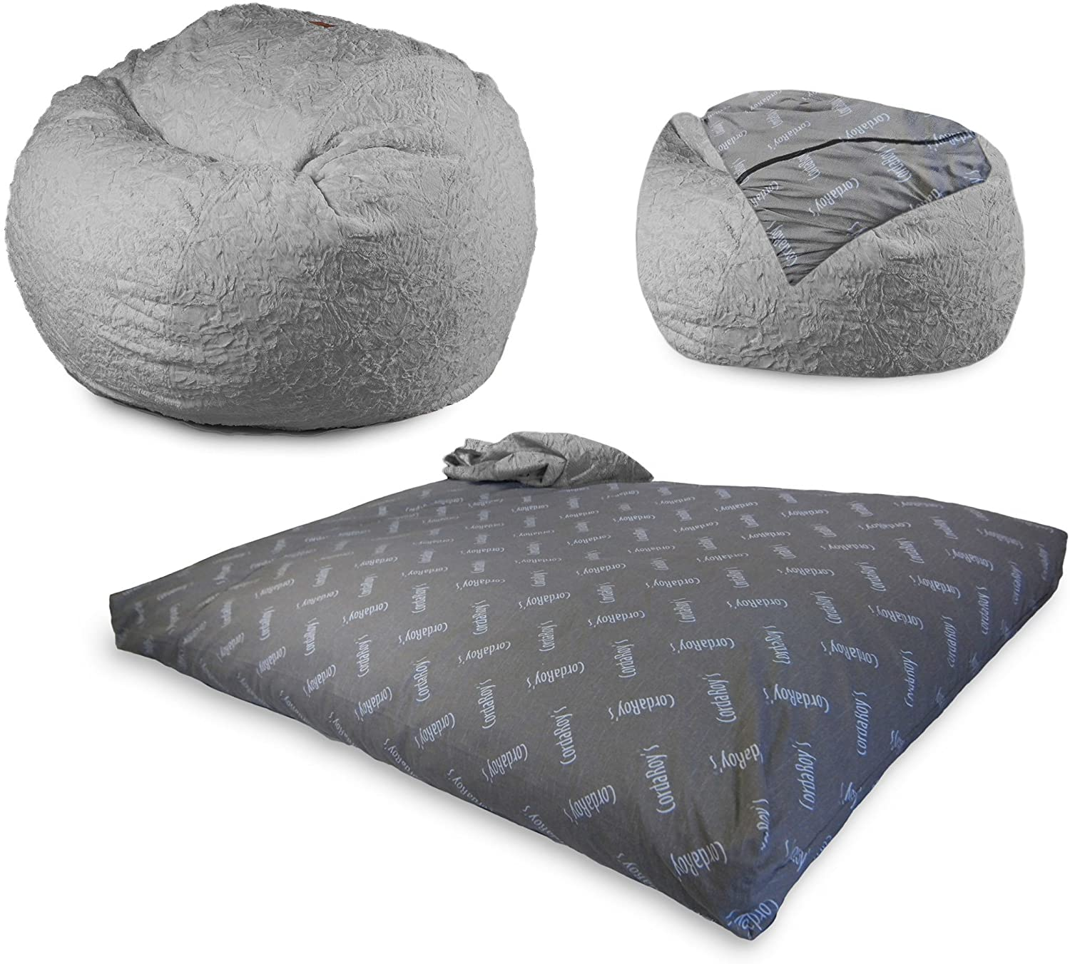 CordaRoy's Faux Fur Bean Bag Chair, Convertible Chair Folds from Bean Bag to Bed, As Seen on Shark Tank, Grey - QueenSize