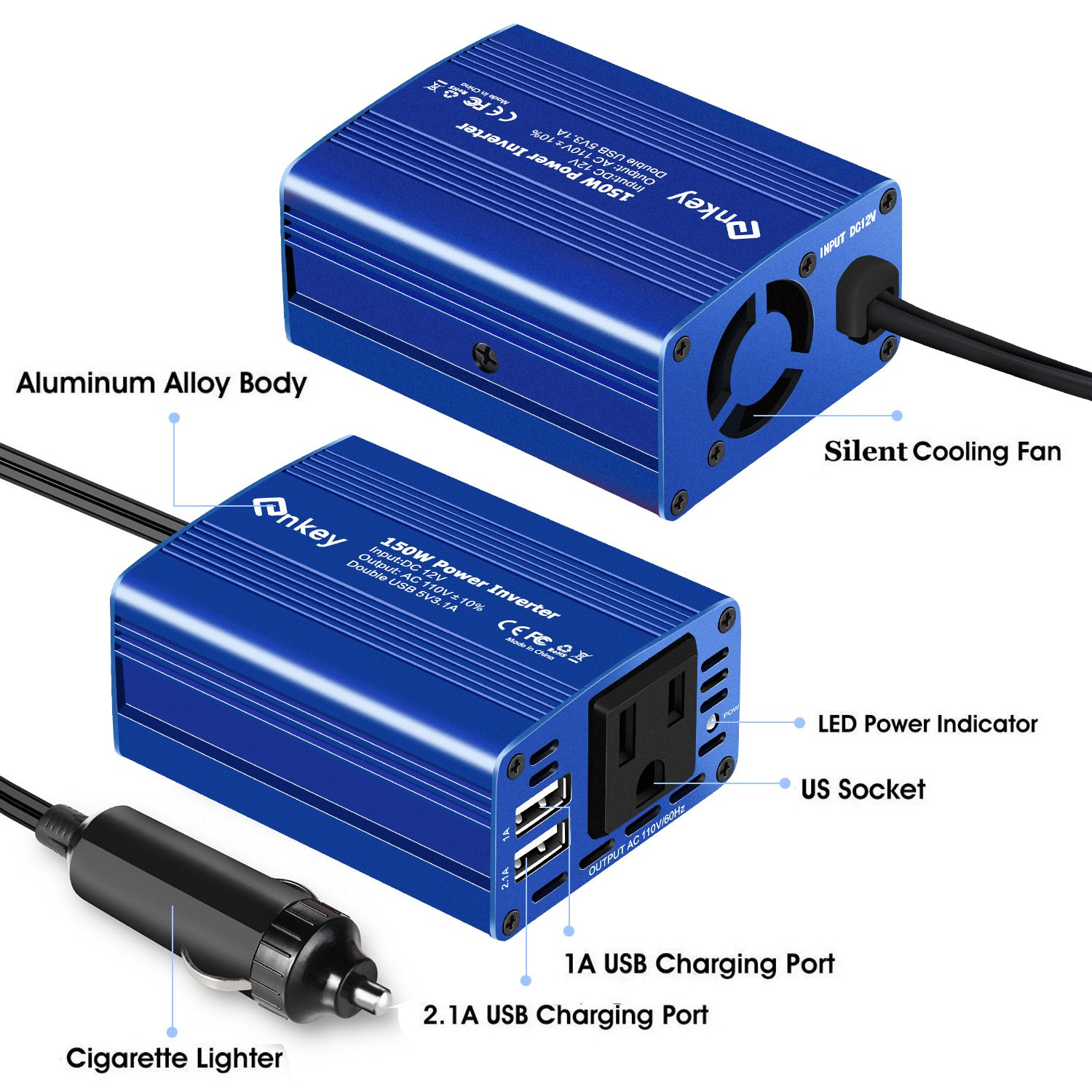 Enkey 150W Car Power Inverter DC 12V to 110V AC Converter with 3.1A Dual USB Charger - Blue by Enkey (Image #3)