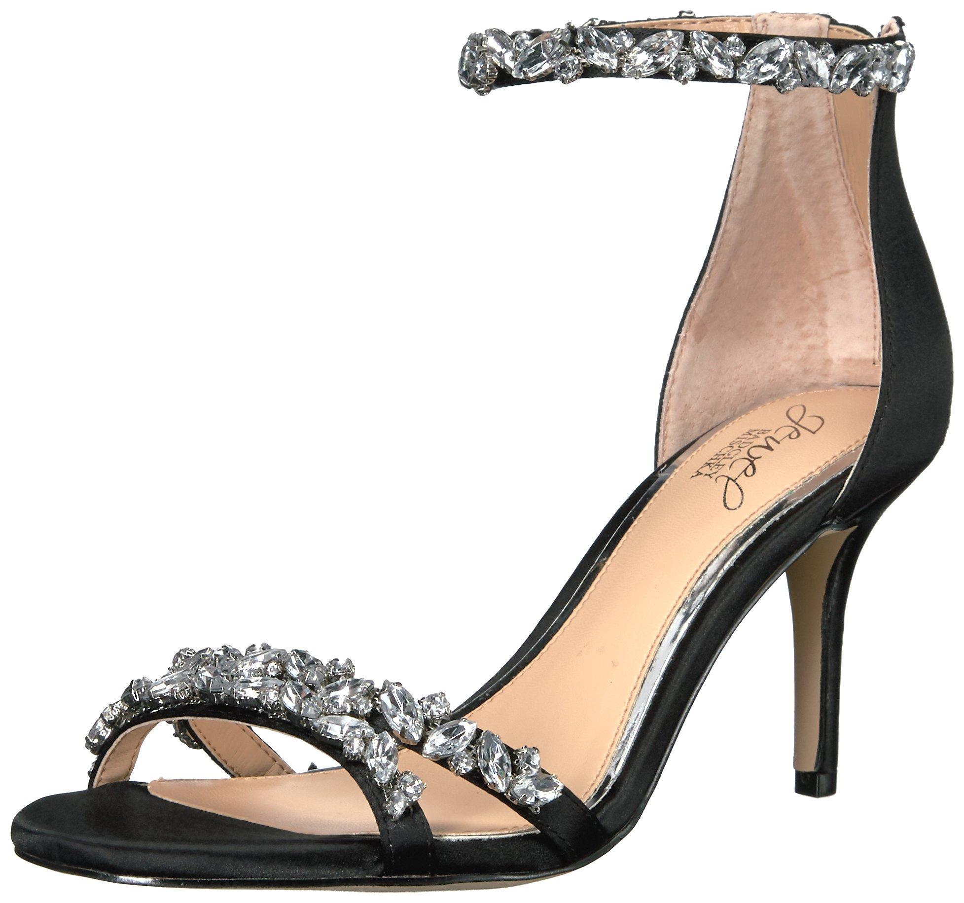 Jewel Badgley Mischka Women's Caroline Dress Sandal, Black, 6.5 M US