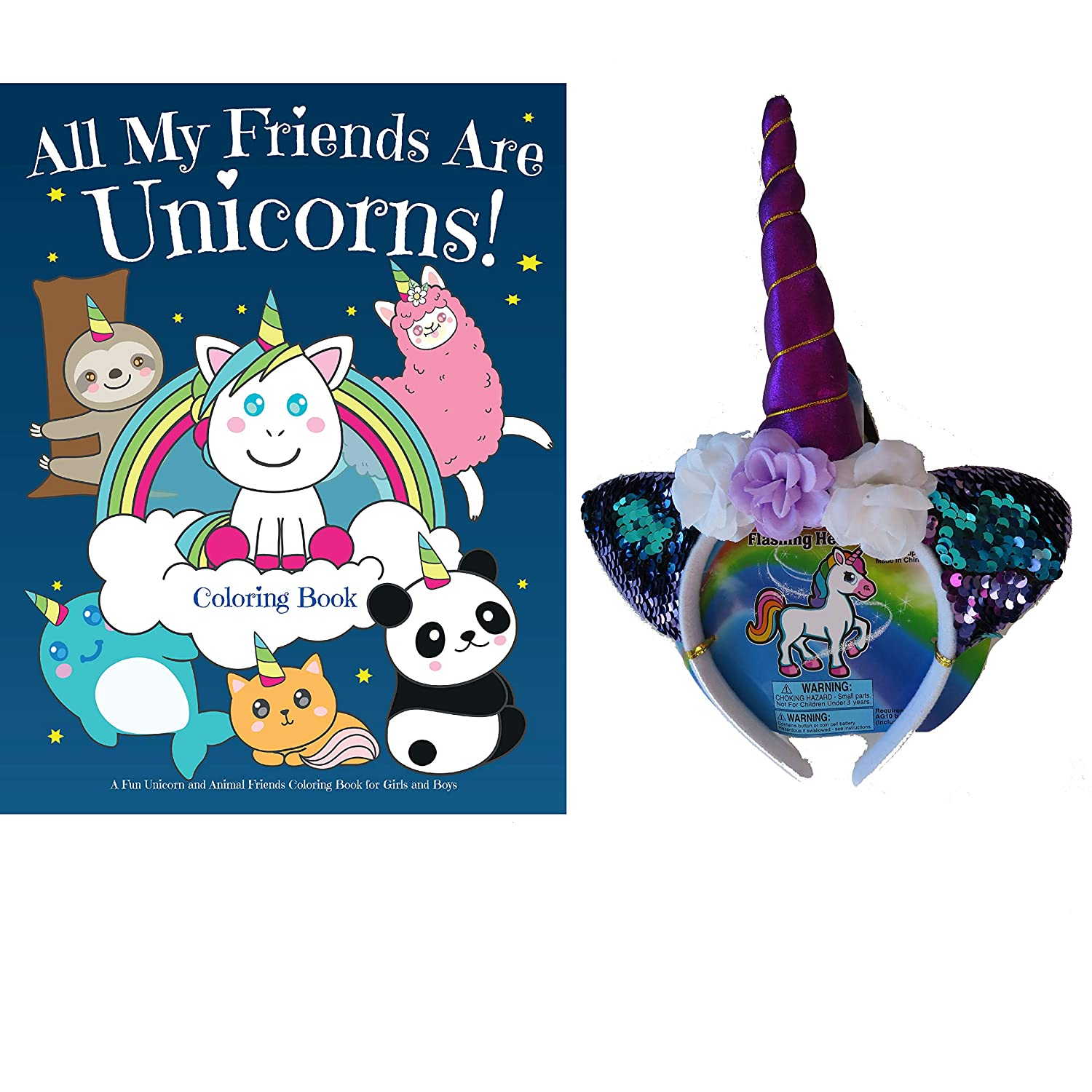 Unicorn Headband and All My Friends are Unicorns Rhyming Story and Coloring Book Rainbow Unicorn Gift Set for Girls