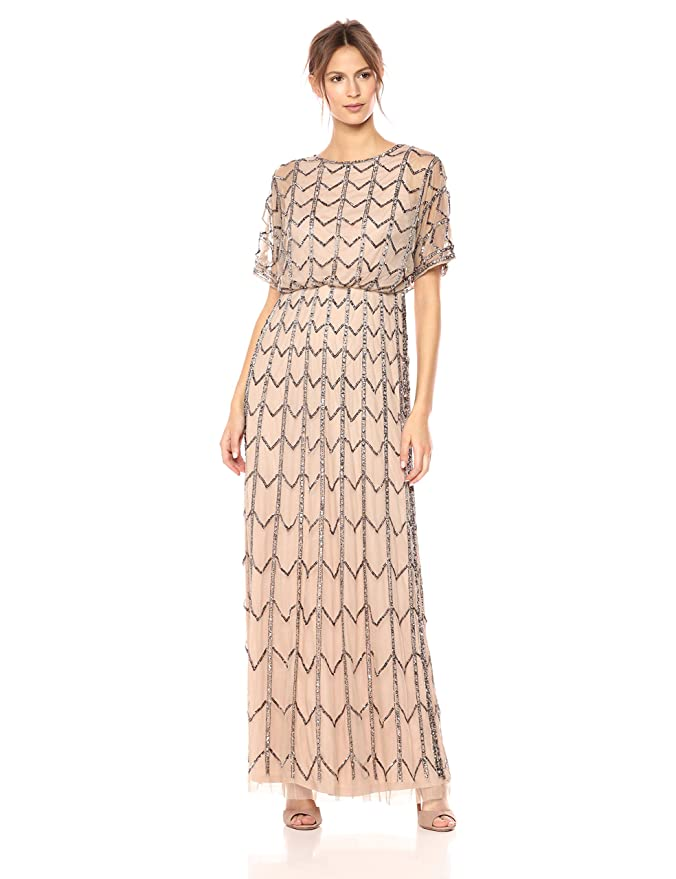 1920s Downton Abbey Dresses Adrianna Papell Womens Short Sleeve Zig Zag Beaded Long Blousson Gown $283.84 AT vintagedancer.com