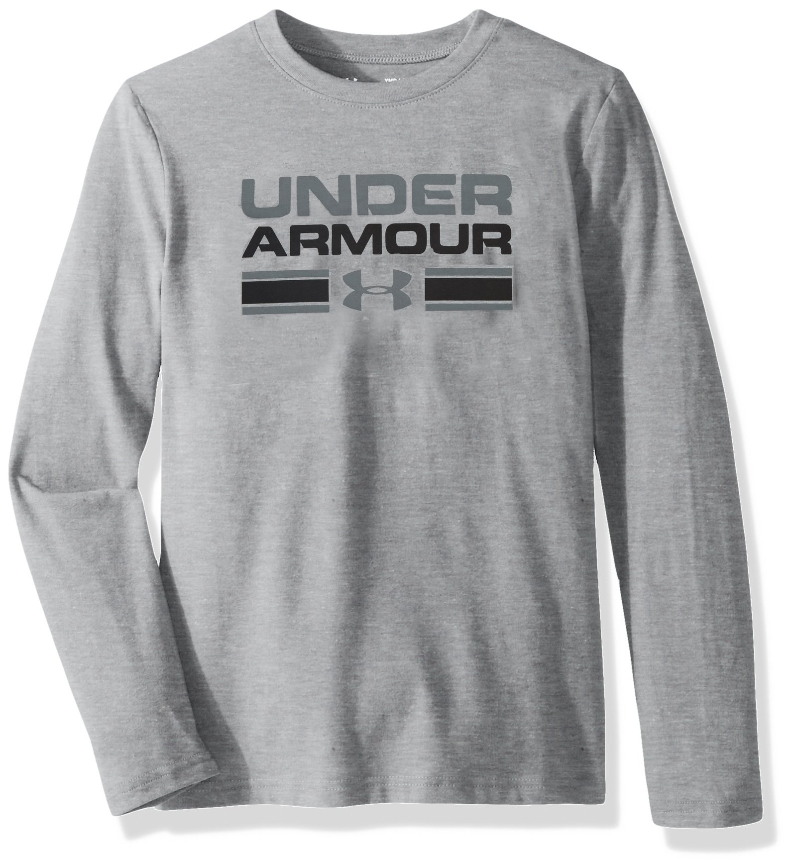 Boy's Under Armour Boys' Crossbar Logo Long sleeve T-Shirt,Steel Light Heather /Graphite, Youth X-Small