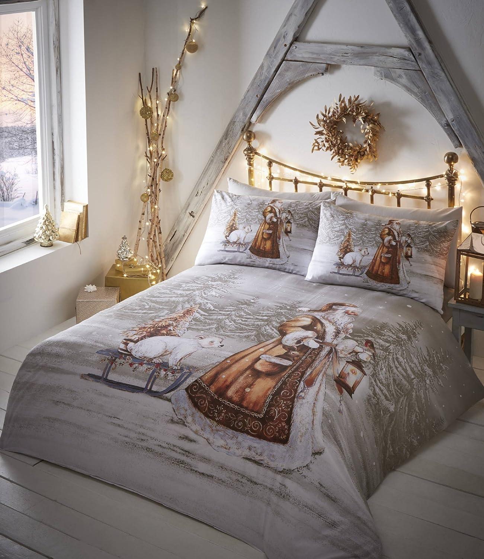 Twilight Santa Christmas Duvet Cover and 2 Pillowcase Set Double Beige