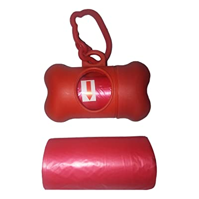 Dog Waste bags with Dispenser 2 rolls of 20. With plastic clip that attaches to a leash, keys, flashlight or dog collar (Red or Blue)