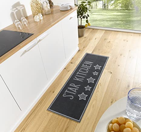 Hhc Kl 19 Star Kitchen Rug Grey Amazon De Kuche Haushalt
