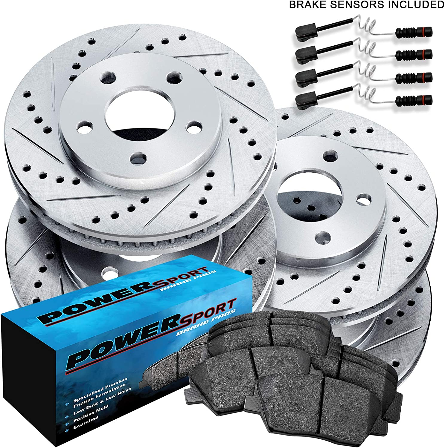 For 2003 Mercedes-Benz C230 Front Rear Drill Slot Brake Rotors+Ceramic Pads