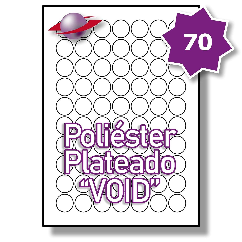 70 Etiquetas Par Hoja, 25 Hojas, 1750 Etiquetas. Label Planet® Etiquetas 70 Redondas de Poliéster