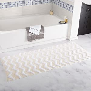 Lavish Home 100% Cotton Chevron Bathroom Mat - 24x60 inches - Bone