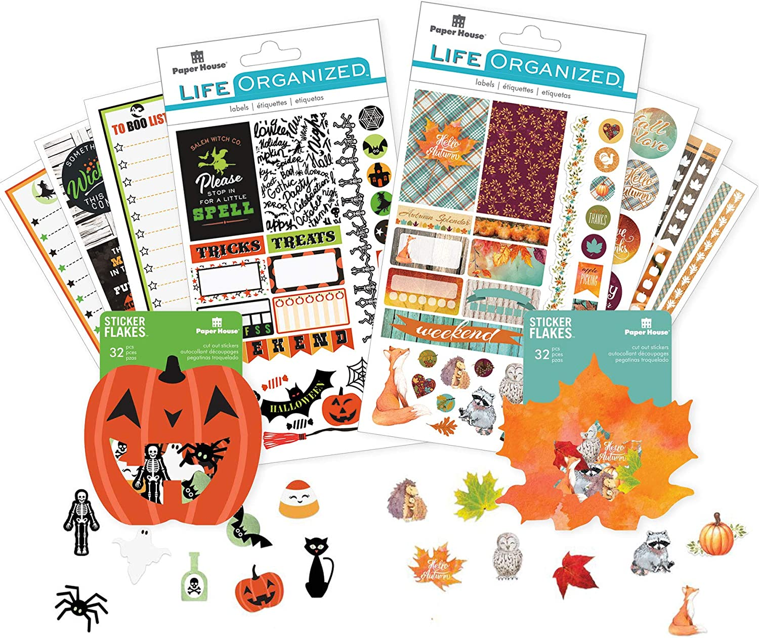 Amazon Com Paper House Productions Set 0016 Fall Planner Bundle Includes 2 Weekly Kits 2 Packs Of Decorative Stickers Arts Crafts Sewing