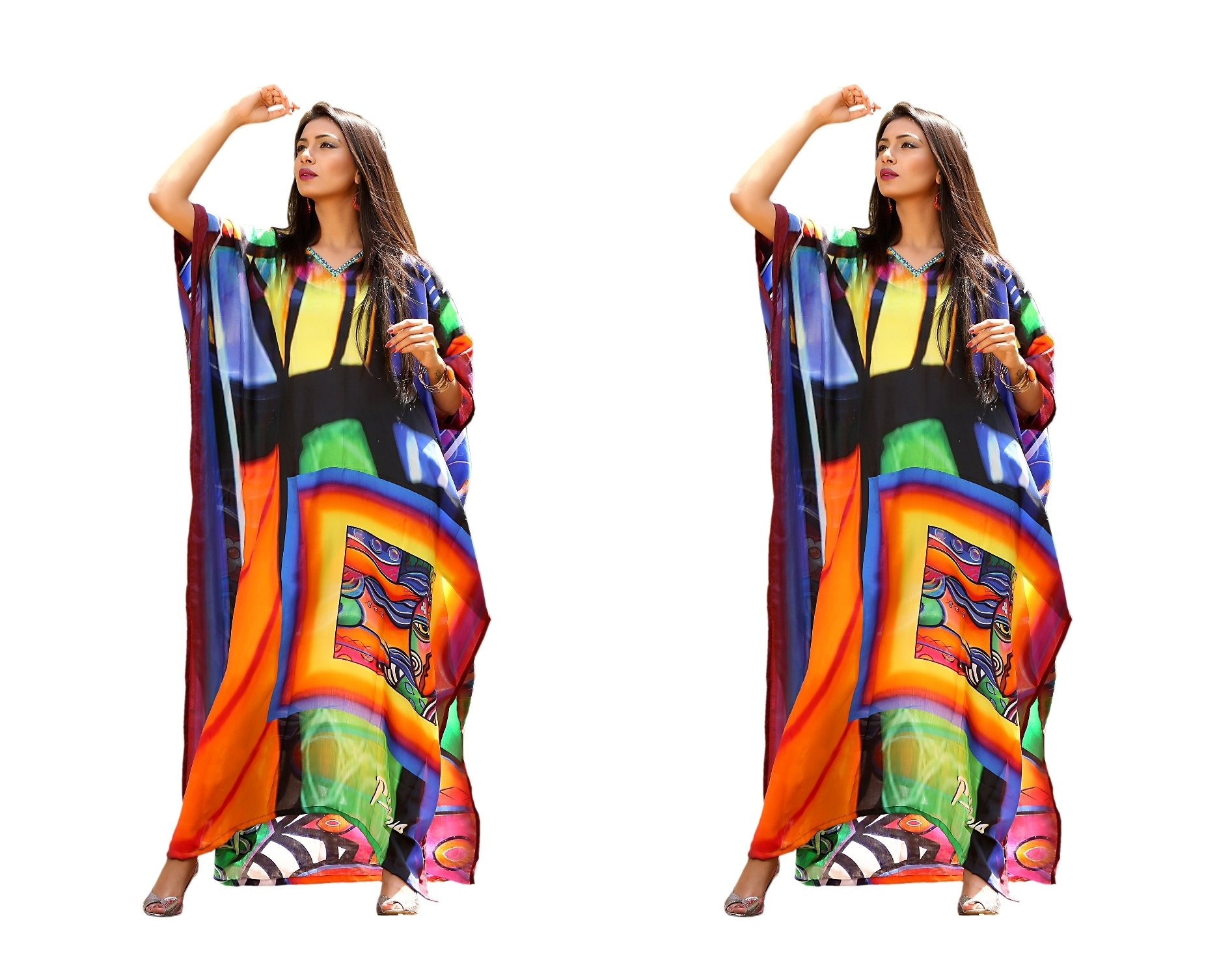 New printed kaftan designer silk crystal embellished long dress 139