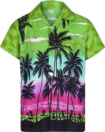 Redstar Fancy Dress - Camisa Hawaiana de Manga Corta - para Hombre - Palmeras - Todas Las Tallas - Verde - XXL