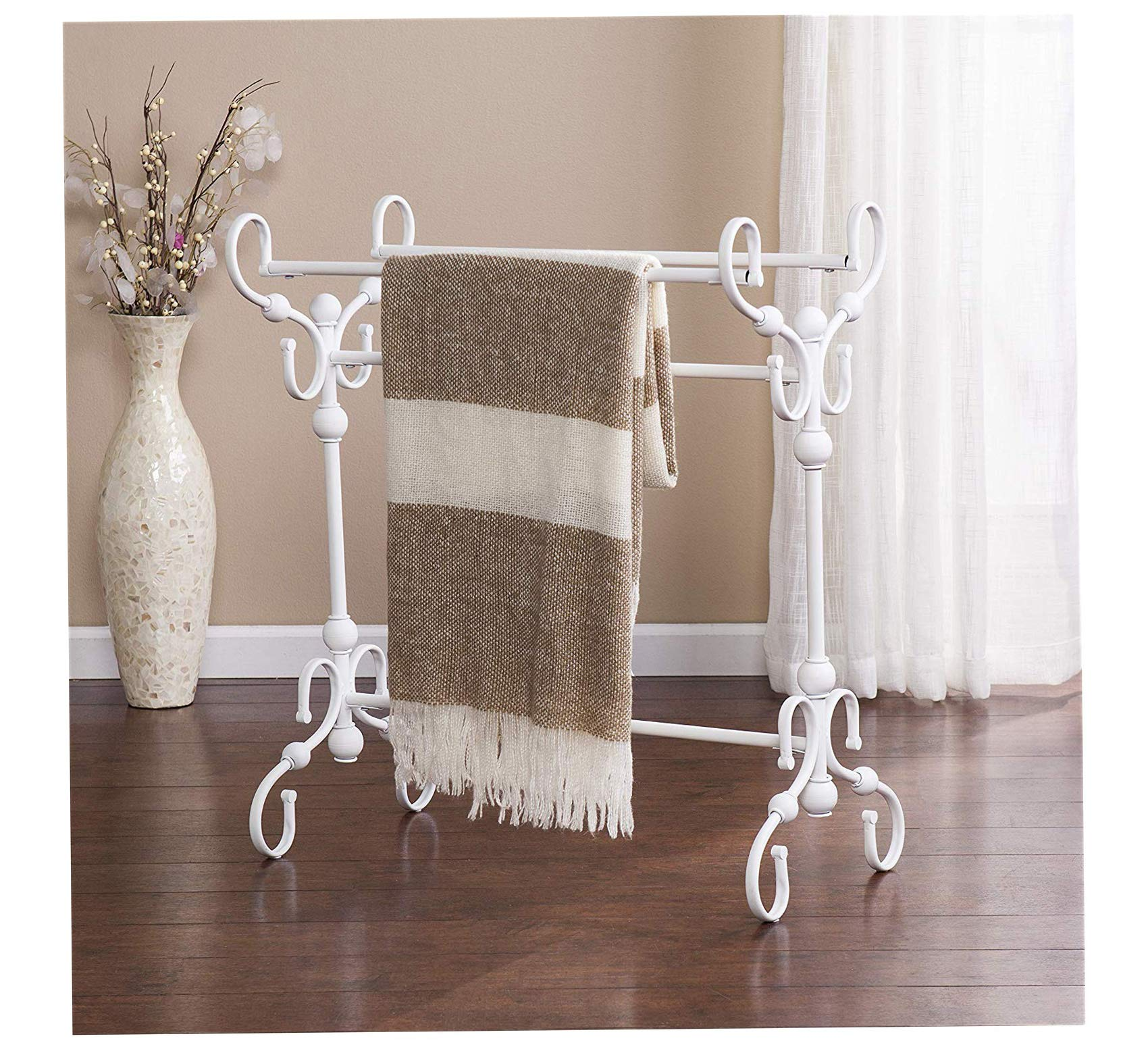 Wood & Style Furniture Lourdes Blanket Quilt Rack, White Home Office Commerial Heavy Duty Strong Décor