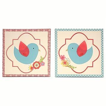 Amazon.com: Mila Azul y lona arte de la pared – Juego de 2 ...
