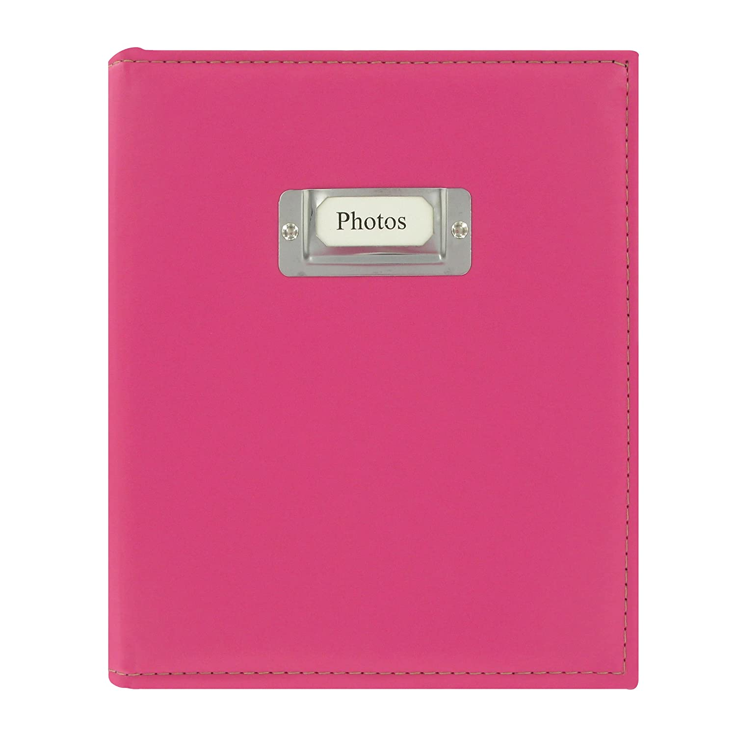 Pioneer Photo 208-Pocket Bright Pink Sewn Leatherette Photo Album with Silvertone Metal I.D. Plate for 4 by 6-Inch Prints Pioneer Photo Albums CTS-246/PK