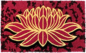 """Red Lotus Flower Zen-Yoga Namaste Welcome Doormat. Durable Coco Coir Front Door Mat. Gold-Glitter Impact! Handcrafted. Outdoor Patio Home Decor. Anti-Shred Latex-Back Easy-Clean EcoFriendly. 18""""x30"""