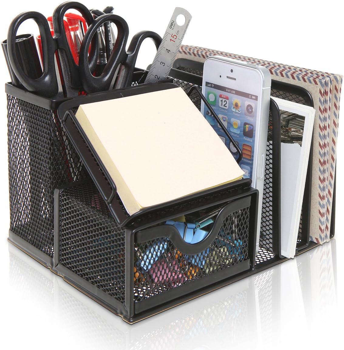 MyGift Metal Mesh Office Supplies Storage Rack, Mail Organizer, Post It Note Memo Pad Holder, Black