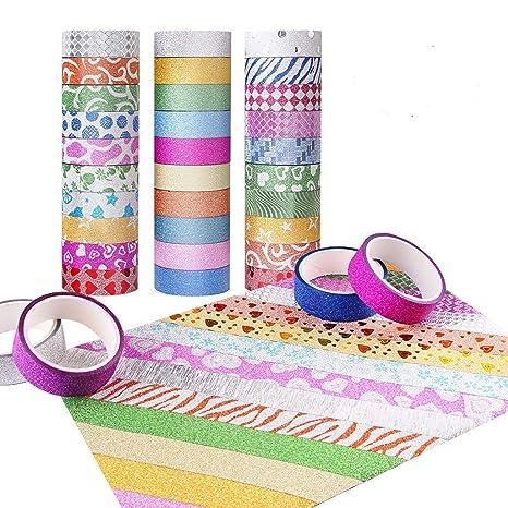 Cinta Decorativa,30 Rollos Cinta Adhesiva De Washi Glitter Cinta Adhesiva Decorativa Para Bricolaje Décor
