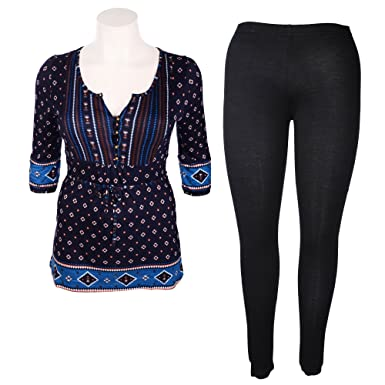 0f4d403ab41 Tommy   Kate Ladies Navy Print Tunic and Black Leggings in Size 16 ...