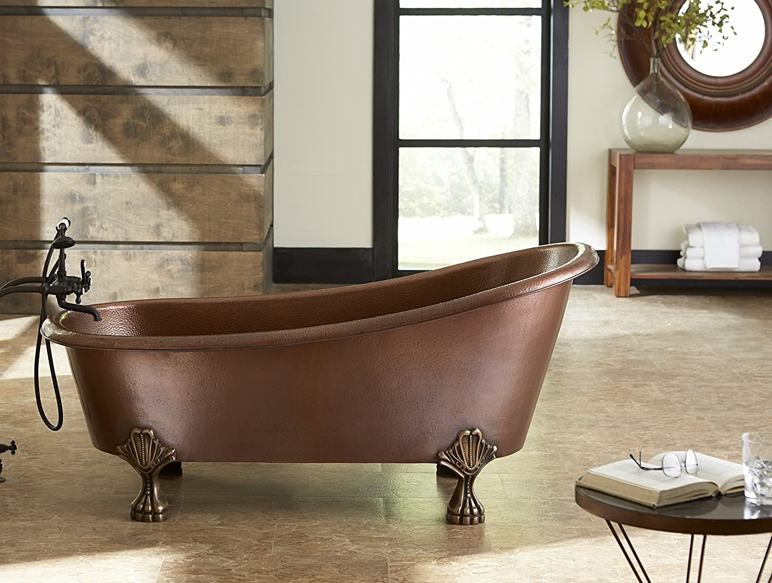 sinkology tbt6631cl heisenberg handmade pure solid claw foot bath tub 55u0027 antique copper amazoncom - Copper Bathtub