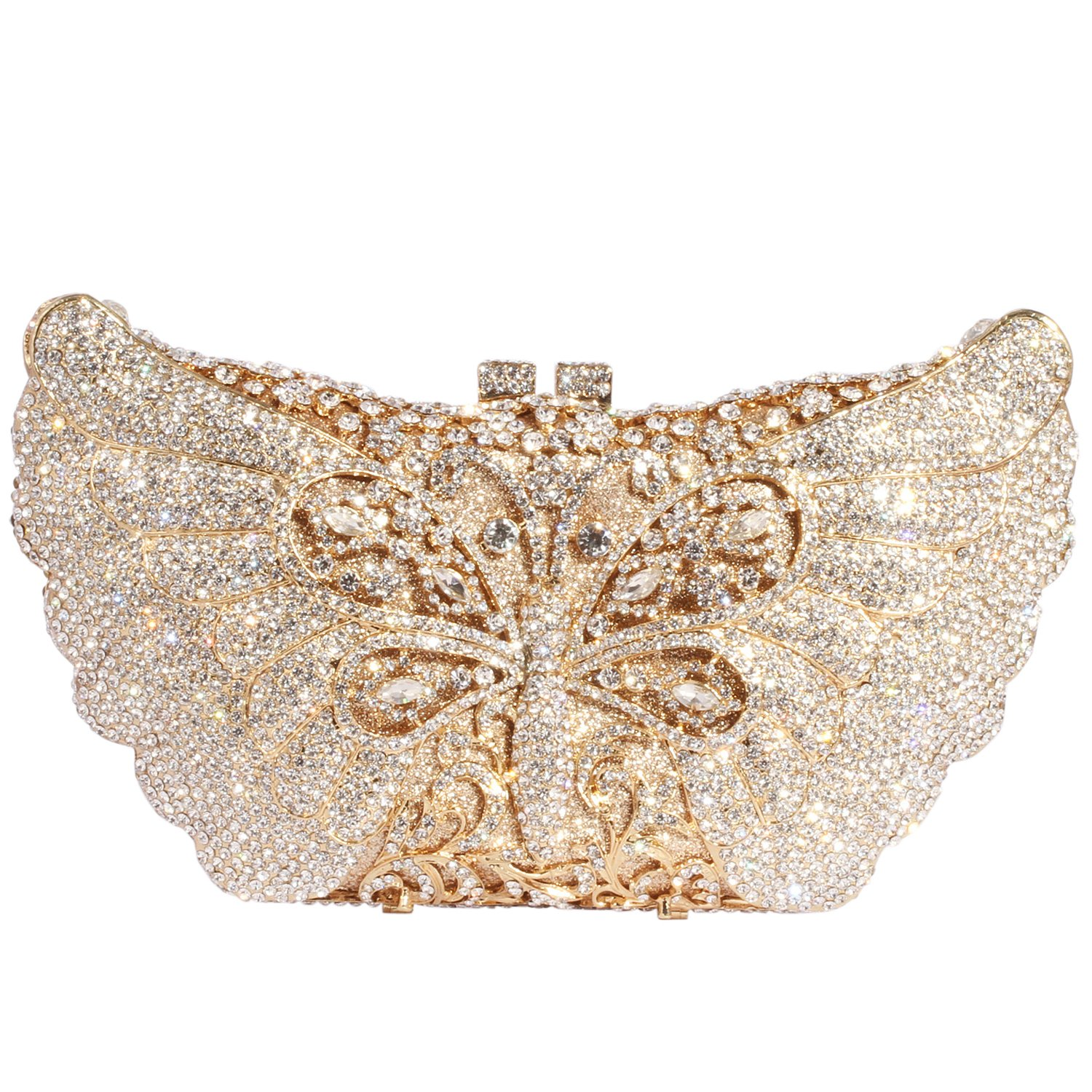 Digabi Butterfly Purses For women New Style Luxury Rhinestone Crystal Evening Clutch Bags (One Size : 8.3 IN (L) x 4.7 IN (H) x 1.77 IN (W), White Crystal - Gold Plated) by Digabi