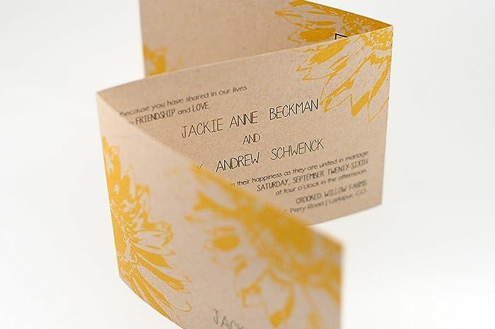Amazon.com: Rustic Sunflower Wedding Invitation, Seal N Send Tri ...