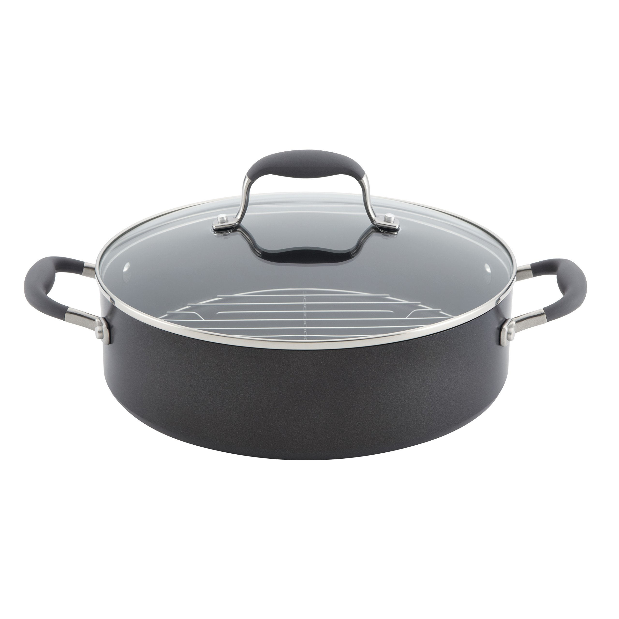 Anolon Advanced Hard-Anodized Nonstick 5.5-Quart Covered Dutch Oven with Rack, Gray by Anolon