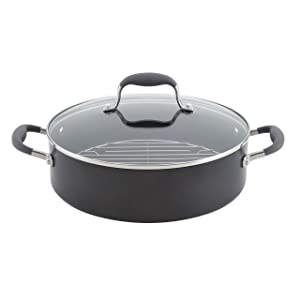 Anolon Advanced Hard-Anodized Nonstick 5.5-Quart Covered Dutch Oven with Rack, Gray