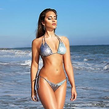 WDDBJN Bikini/Mujeres Push-up Sujetador Acolchado Lentejuela Correa Conjunto de Traje de baño