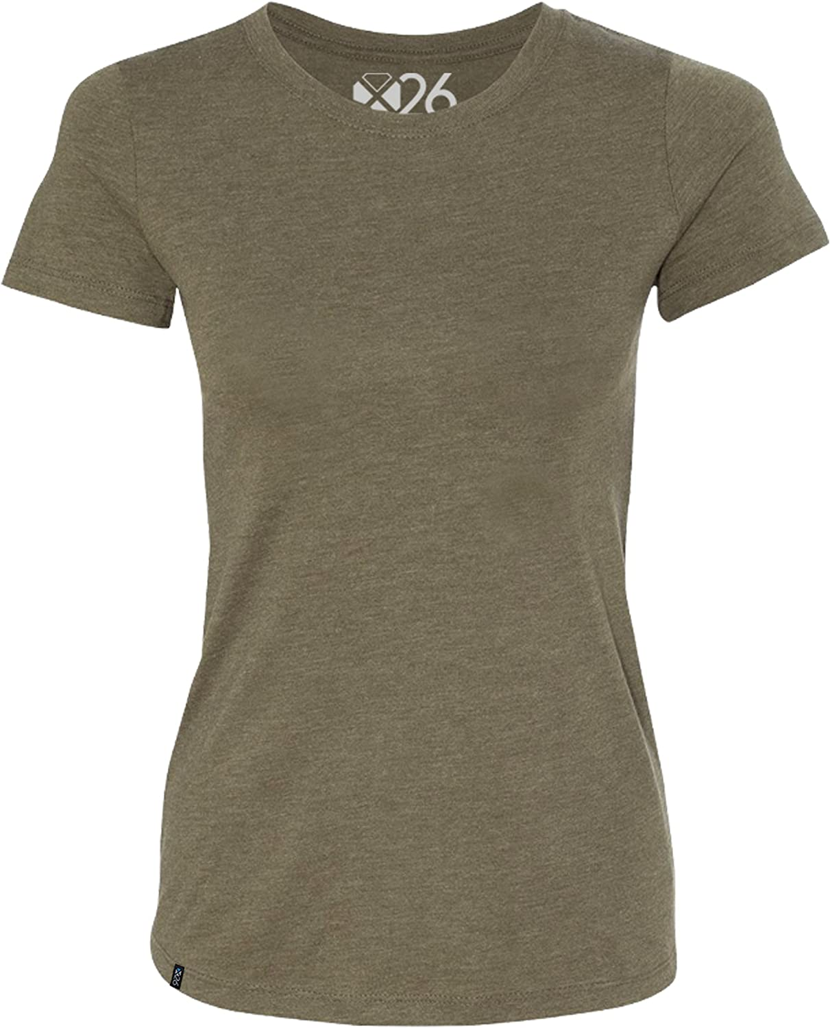 Women's Tri-Blend Soft Wash Jersey Crew Neck Everyday Plain and Heather T-Shirts
