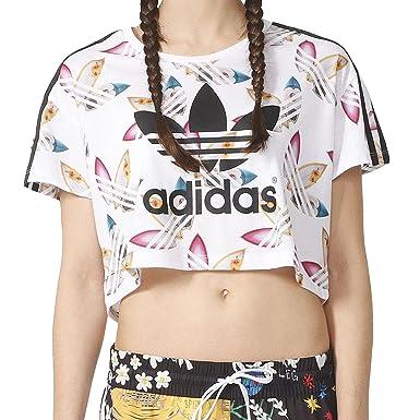 7706928435d adidas Originals Womens Womens Pharrell Williams Surf Crop T-Shirt in White  - 18: adidas Originals: Amazon.co.uk: Clothing