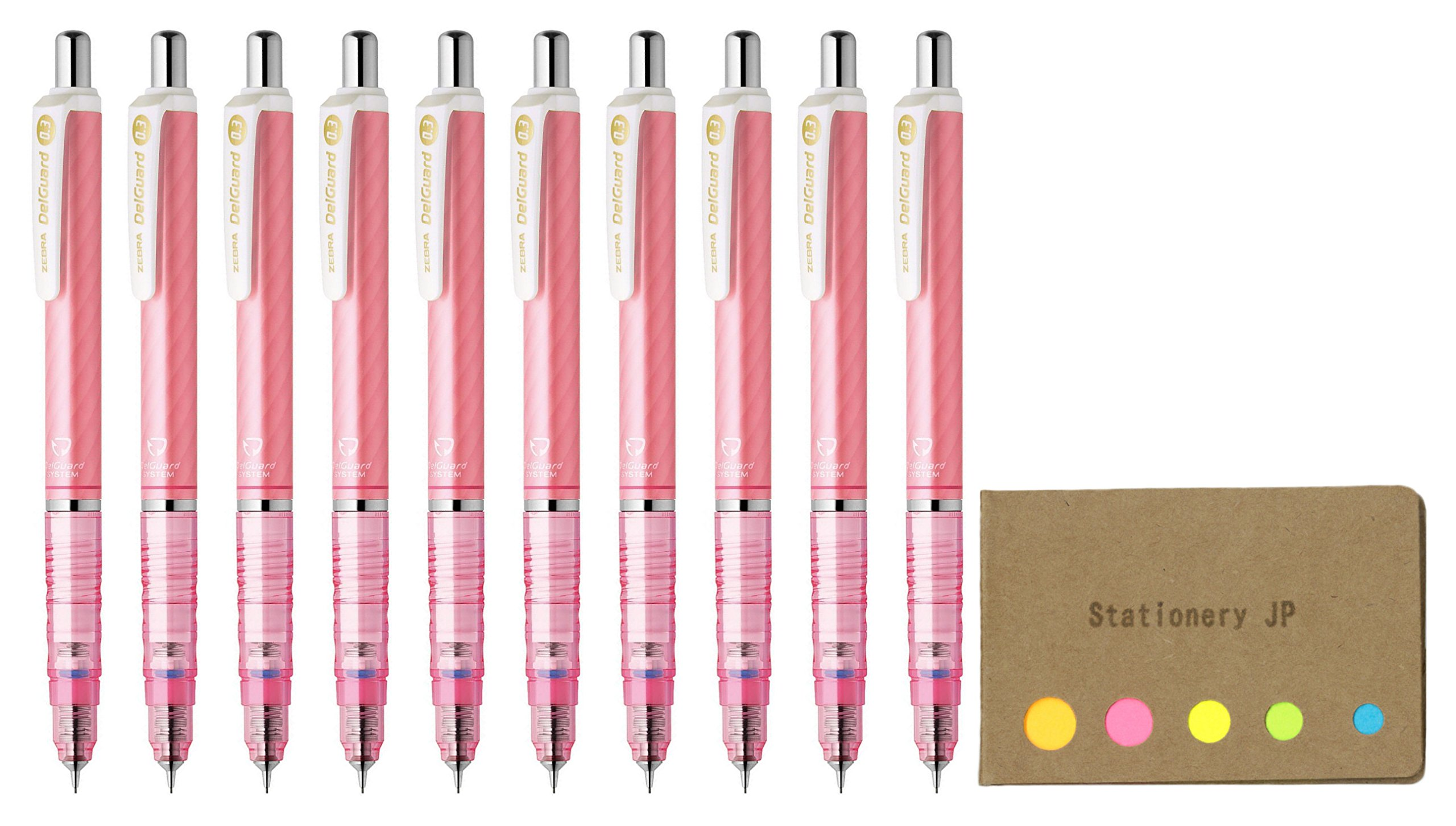 Zebra DelGuard Mechanical Pencil 0.3mm, Luminous Pink Body, 10-pack, Sticky Notes Value Set