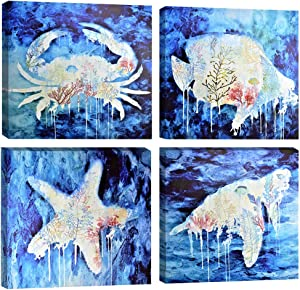 DAVOD Beach Marine Theme Bathroom Wall Art Ocean Home Decor Blue Mediterranean Style Watercolor Canvas Prints Painting Sea Animal Framed Atwork Pictures Set of 4 Panels 16 x 16 Inch