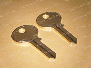 2 Hon Hudson, Fire King, Chicago File Cabinet Keys Lock Replacement Keys Cut L001 to L010 Office Furniture Desk Keys L001 L002 L003 L004 L005 L006 L007 L008 L009 L010 Two Cut Working Keys (L002)