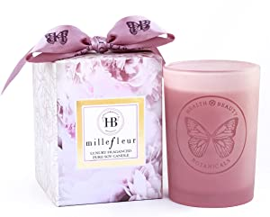 HB Botanicals Candle/Millefleur Limited Edition/Luxury Scented Soy Candles/Hand Poured/ Highly Scented & Clean Burn/7.5 Oz Frosted Pink Jar/ Gold Embossed Gift Box/ Color Printed Inner Box/Satin Bow.