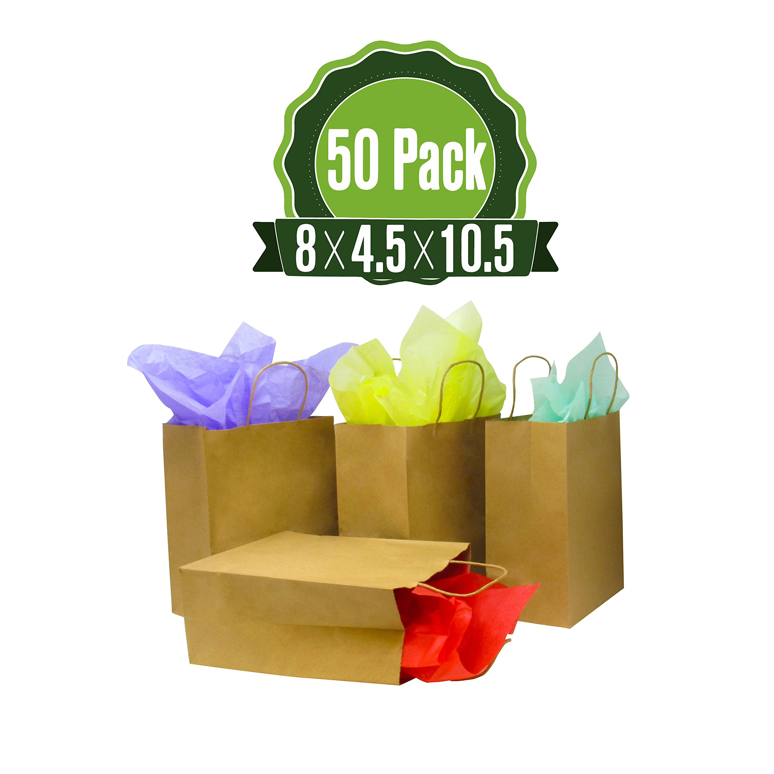 Brown Kraft Paper Gift Bags with Handles, 50 Pcs 8x4.75x10.5 Shopping, Packaging, Retail, Party, Craft, Gifts, Wedding, Recycled Merchandise Bag