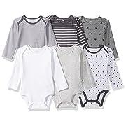 Amazon Essentials Baby 6-Pack Long-Sleeve Bodysuit, Uni Star Stripe Neutral, 0-3M