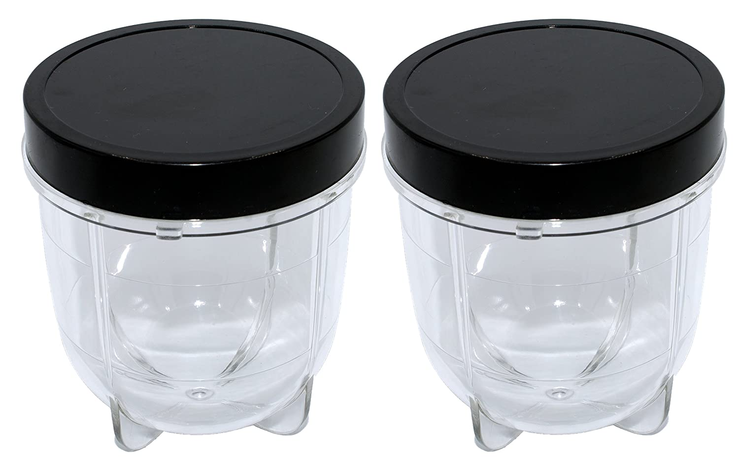 Blendin 2 Pack Short Cup with Black Jar Lid, Fits Original Magic Bullet Blender Juicer MB1001 250W