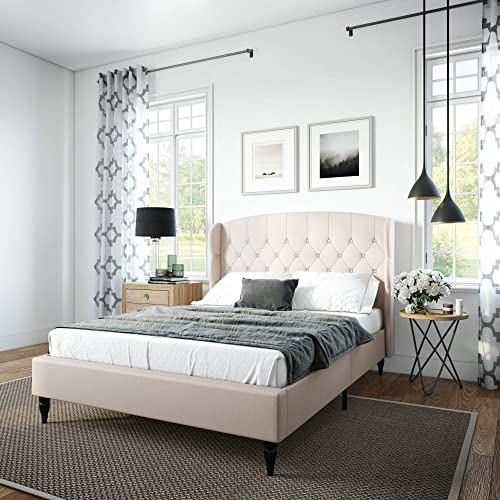 Classic Brands Coventry Upholstered Platform Bed | Headboard and Metal Frame